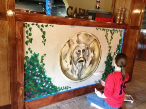 2013, Me working on a very modest rendition of the Bocca della Verità for a small Italian Bistro. Photo and artistic assistance by Justine Yeagle.